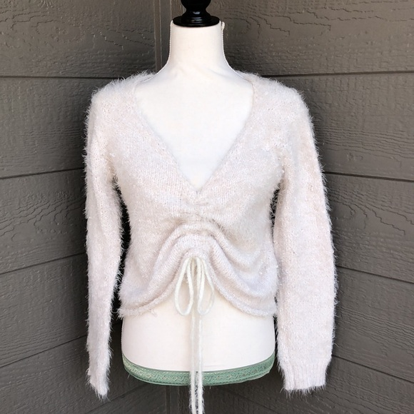Wishlist Fuzzy Ruched Cropped Sweater